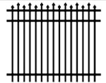 Alternating pressed pickets extend above the top rail of the aluminum fence section.